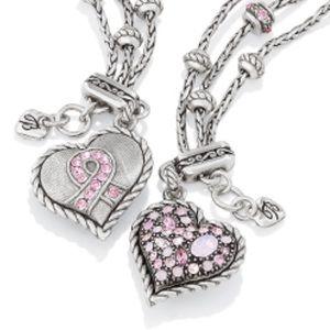 Brighton pink heart stones pink ribbon bracelet.